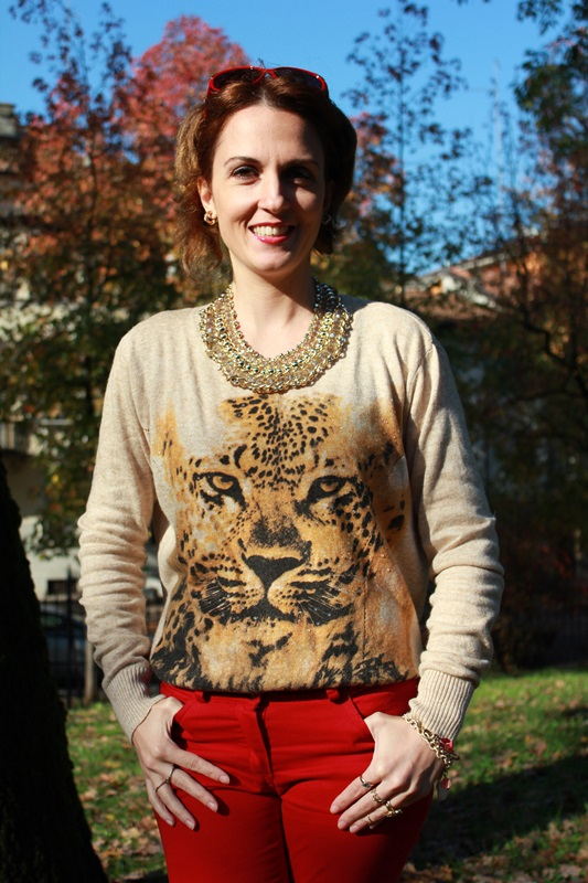 Indian Savage Margaret Dallospedale The Indian Savage diary red pants & Tiger sweater 5