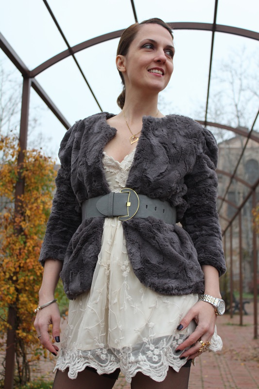 Margaret Dallospedale Indian Savage The Indian Savage diary Grey Fur coat lace dress 7
