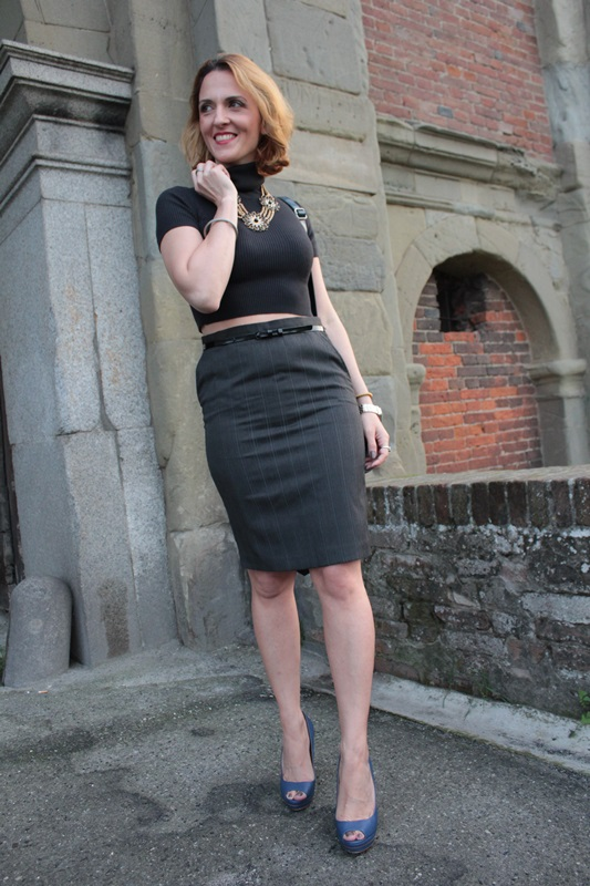 Grey Crop Top And Pencil Skirt Fashion Tip 74 By Maggie Dallospedale