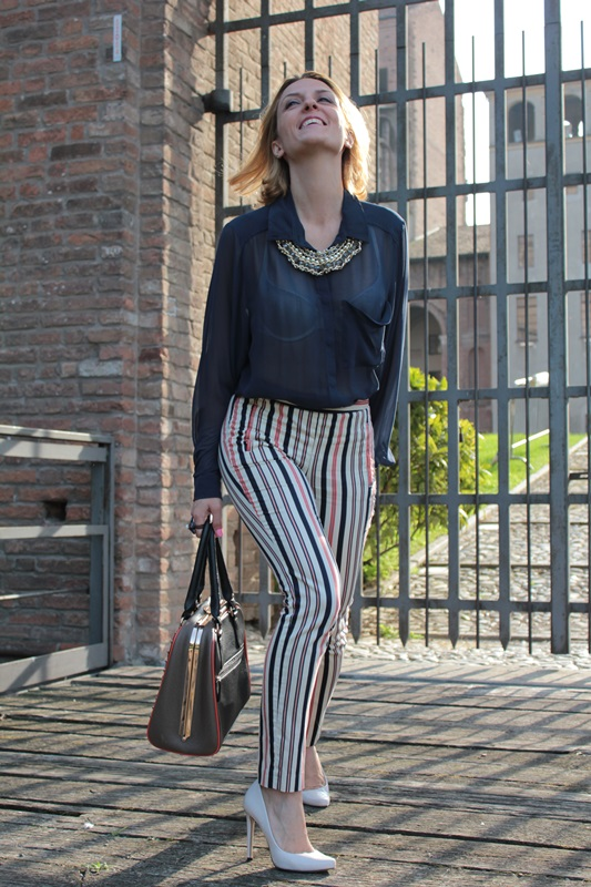 Striped Trousers And Blue Shirt