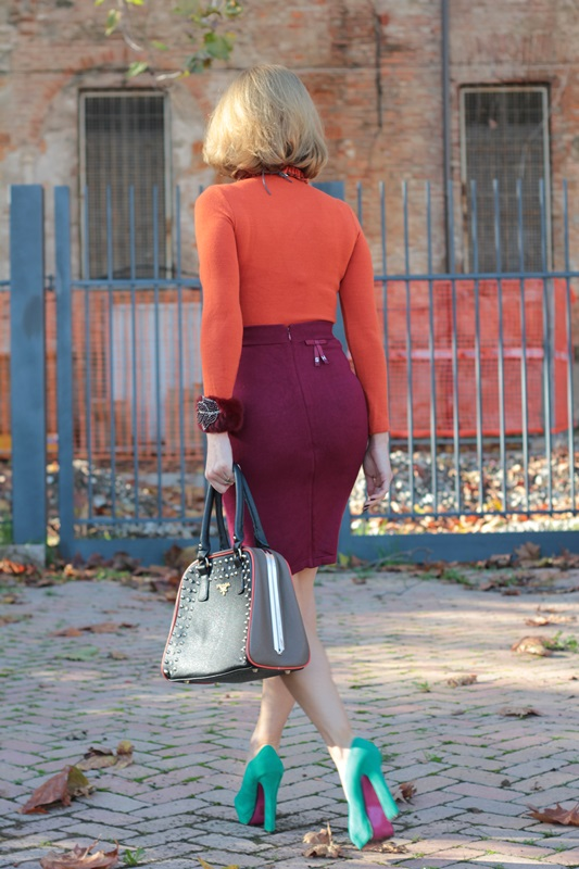 burgundy and tangerine outfit  fashion tip  82
