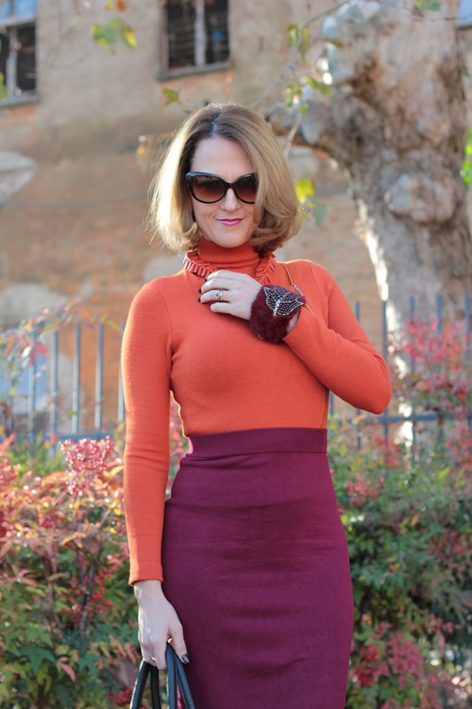 Margaret Dallospedale, Maggie Dallospedlae fashion diary, Fashion blog, Fashion blogger,  fashion tips, how to wear, Outfits, OOTD, Fall outfit, Burgundy and Tangerine outfit, 10