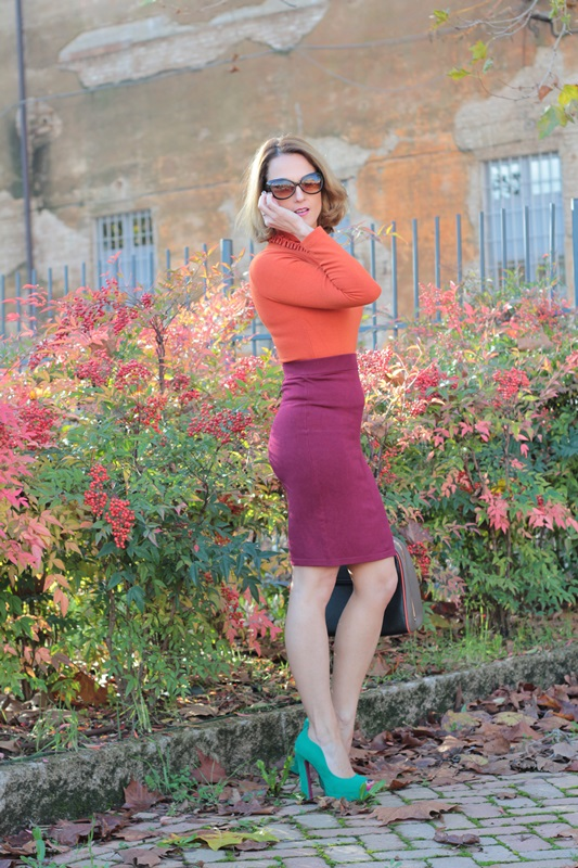 Margaret Dallospedale, Maggie Dallospedlae fashion diary, Fashion blog, Fashion blogger,  fashion tips, how to wear, Outfits, OOTD, Fall outfit, Burgundy and Tangerine outfit, 3
