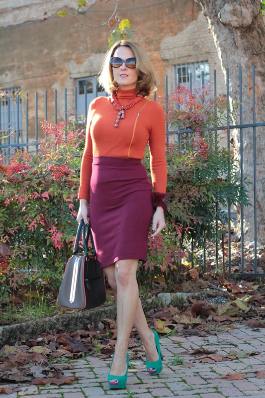 Margaret Dallospedale, Maggie Dallospedlae fashion diary, Fashion blog, Fashion blogger,  fashion tips, how to wear, Outfits, OOTD, Fall outfit, Burgundy and Tangerine outfit, 6