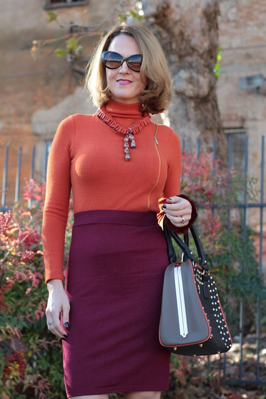 Margaret Dallospedale, Maggie Dallospedlae fashion diary, Fashion blog, Fashion blogger,  fashion tips, how to wear, Outfits, OOTD, Fall outfit, Burgundy and Tangerine outfit, 8