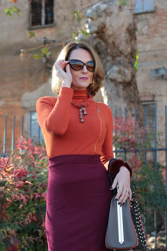 Margaret Dallospedale, Maggie Dallospedlae fashion diary, Fashion blog, Fashion blogger,  fashion tips, how to wear, Outfits, OOTD, Fall outfit, Burgundy and Tangerine outfit, 9
