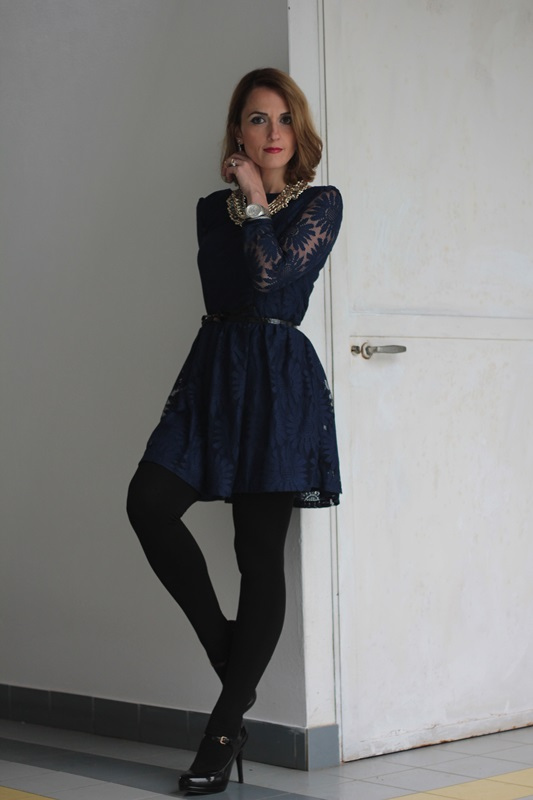 Lace Blue Dress And Black Fashion Outfit 85