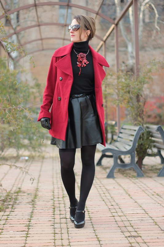 Red coat and total black on my fashion blog - Indiansavage.com by ...