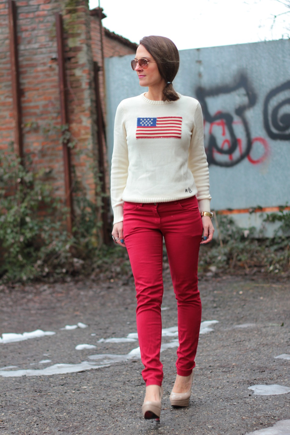 Flag sweater and Red Pant on my Fashion Blog