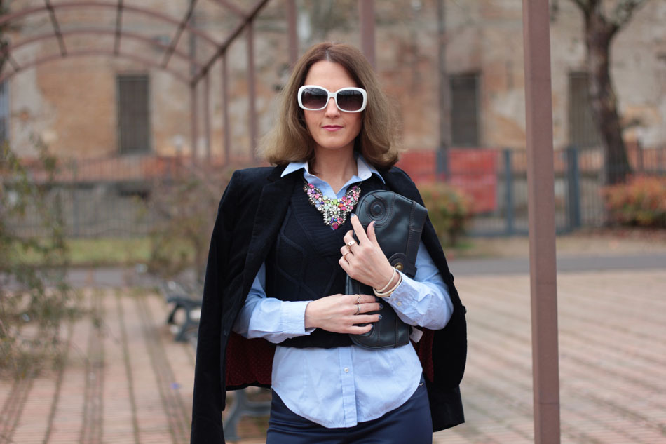 Fashion blogger, Fashion blog, Maggie Dallospedale fashion diary, fashion outfit, Gilet, sfumature di blu, 8