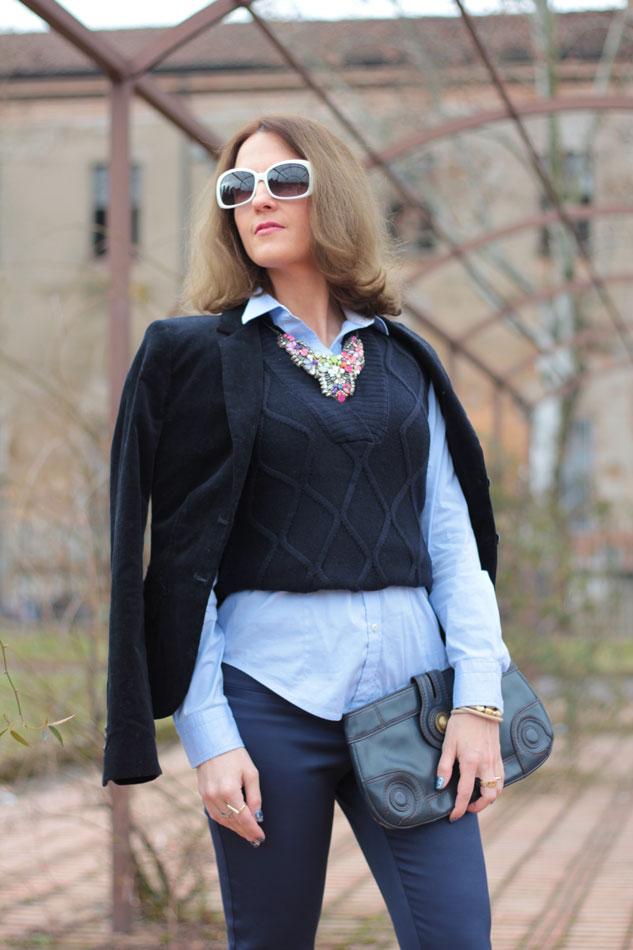 Fashion blogger, Fashion blog, Maggie Dallospedale fashion diary, fashion outfit, Gilet, sfumature di blu, 9