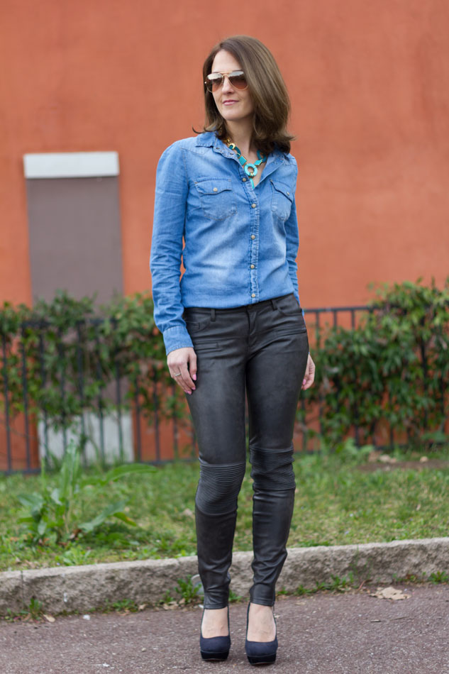 Denim shirt leather pants (spring outfit)