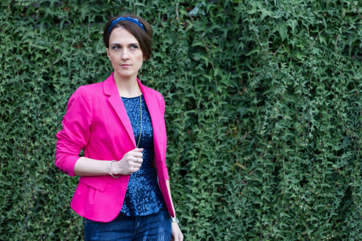Hot Pink Blazer and blue
