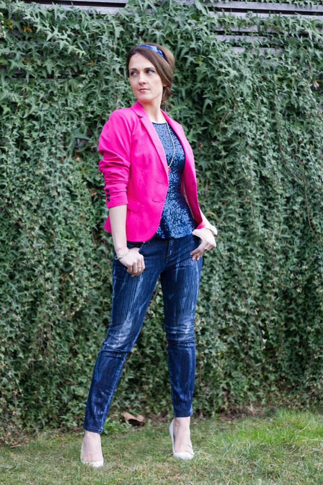 Sequins top Hot Pink Blazer