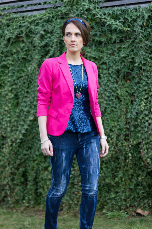 Hot Pink Blazer and total blue