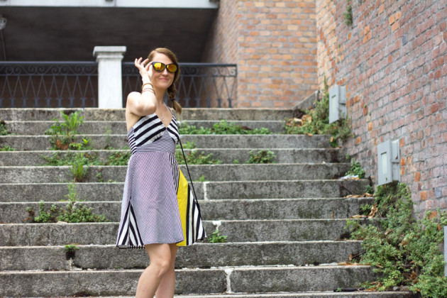 Black White stripes Yellow dress