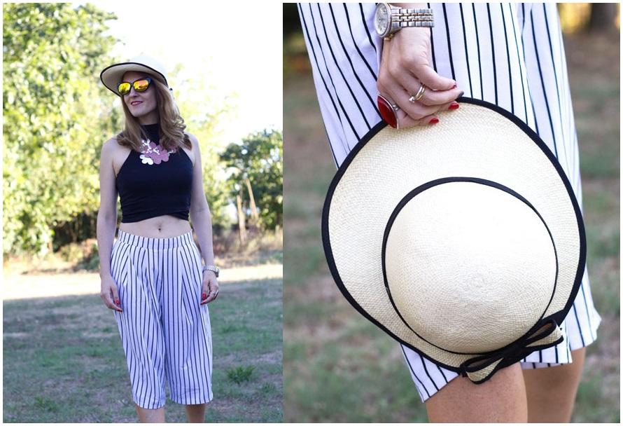Summer hat, culottes pants
