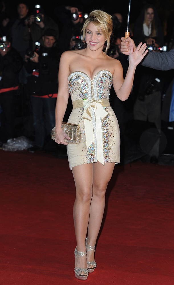 CANNES, FRANCE - JANUARY 28: Shakira poses as she arrives at NRJ Music Awards 2012 at Palais des Festivals on January 28, 2012 in Cannes, France. (Photo by Pascal Le Segretain/Getty Images)