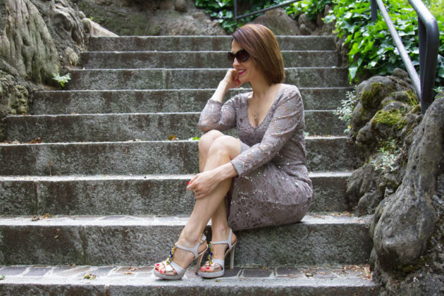 Sequin floral dress and jewel shoes