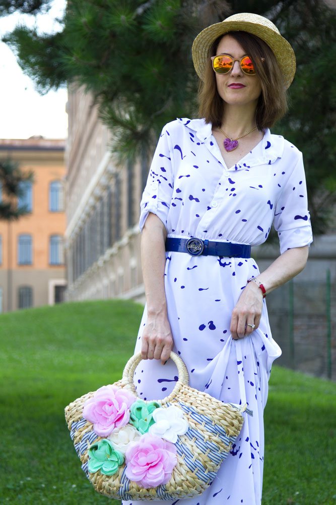 Long Shirt Dress, Fashion blogger, Maggie Dallospedale, Boater hat, Italian fashion blogger, USA Fashion Blogger