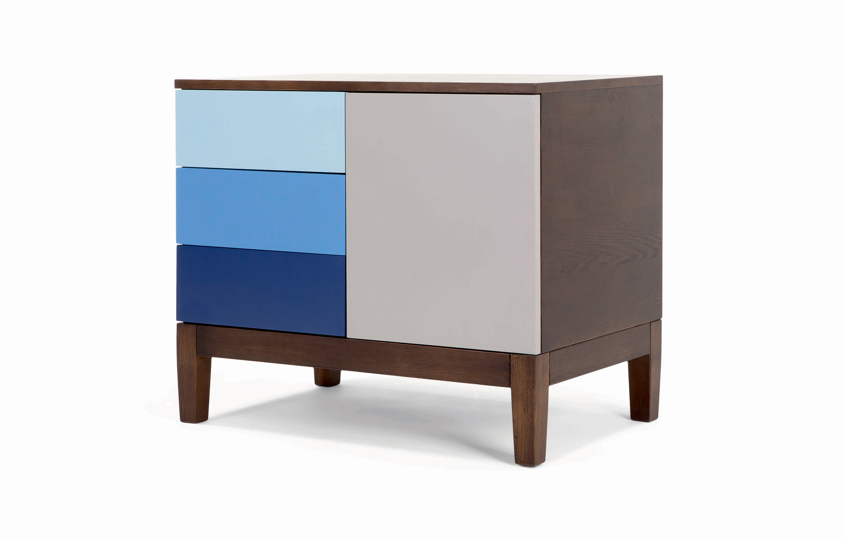 MADE.COM - design special sale Vernay Sideboard Dark Stain Ash with Multicolour Blue - minimale HR
