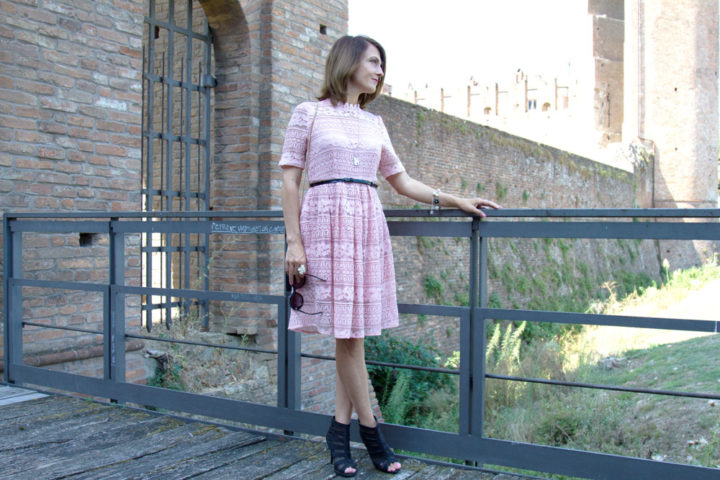 Pale pink lace dress for a romantic day in a enchanted garden