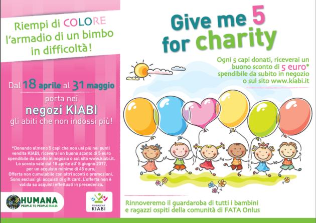 """Iniziativa Kiabi """"Give me 5 for charity"""", la nuova iniziativa Kiabi in collaborazione con Humana"""