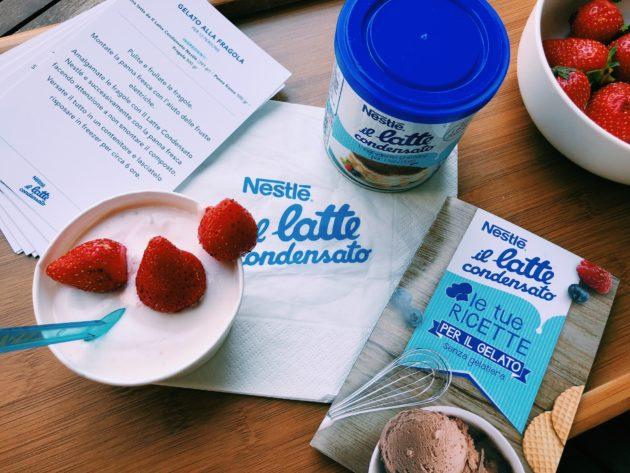 Gelato alla fragola con il latte condensato ovviamente Nestlé!